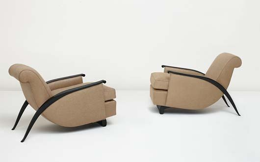"""53: EMILE-JACQUES RUHLMANN, Pair of """"Gonse"""" armchairs,"""