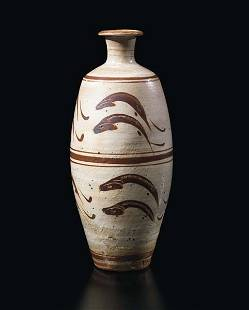 """68: BERNARD LEACH, Large vase with """"Leaping Fish"""" desig"""