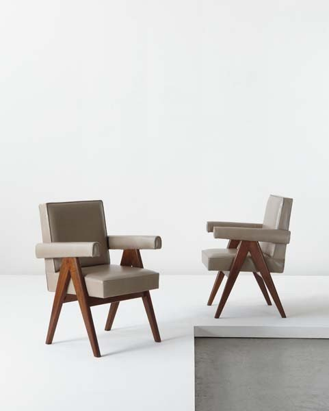"102: PIERRE JEANNERET, Pair of ""Committee"" armchairs, m"