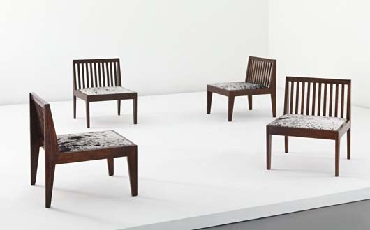 105: PIERRE JEANNERET, Pair of lounge chairs, model no.