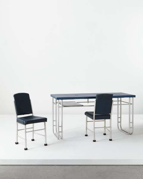 115: WARREN MCARTHUR, Desk and pair of side chairs, mod