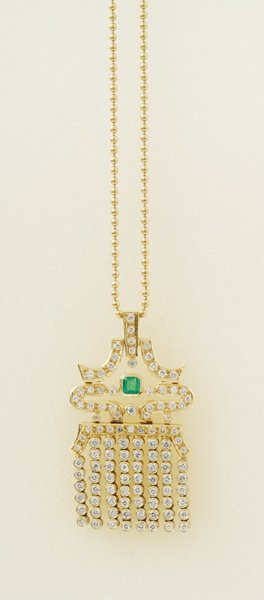 2:  An Emerald and Diamond–Set Pendant on Chain T