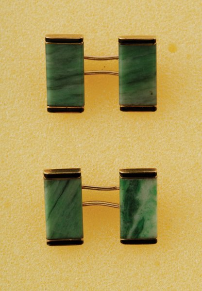 8:  A Pair of French Art D&eacuteco Jadeite and Enamel