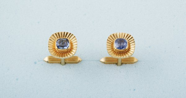 10:  KERN A Pair of Sapphire–Set Cuff Links Each
