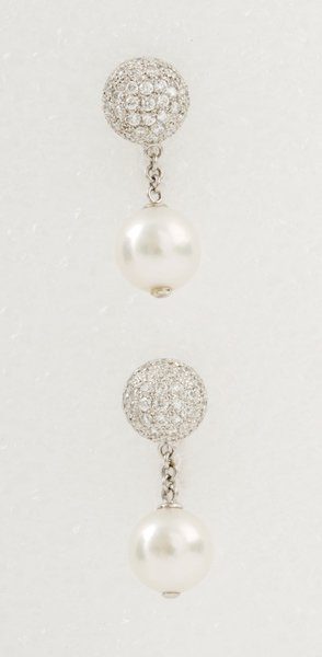 14:  A Pair of Cultured Pearl and Diamond–Set Ear