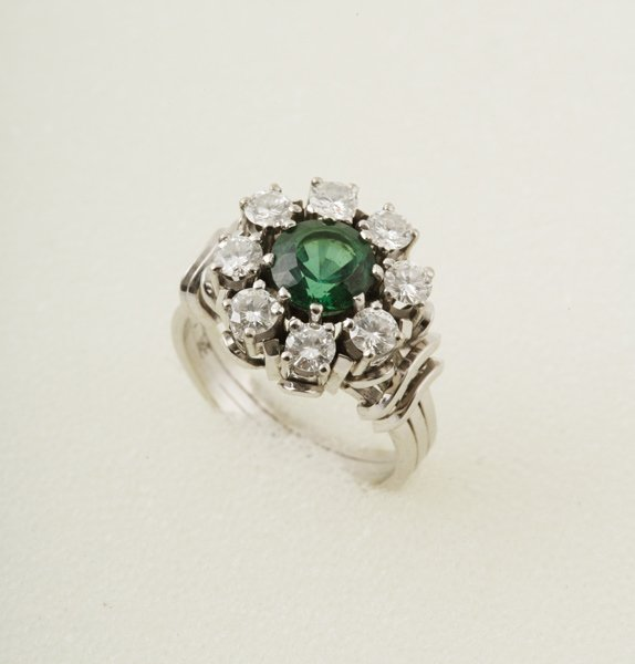 17:  A Tourmaline and Diamond–Set Cluster Ring Th