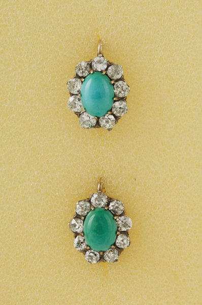23:  A Pair of Late 19th Century Turquoise and Diamond&