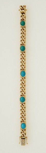 24:  A Curb Link and Turquoise–Set Bracelet The h
