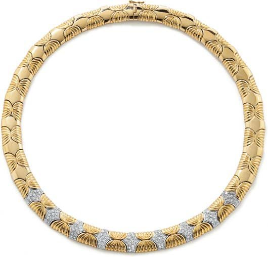 1: A Diamond and Gold Necklace.