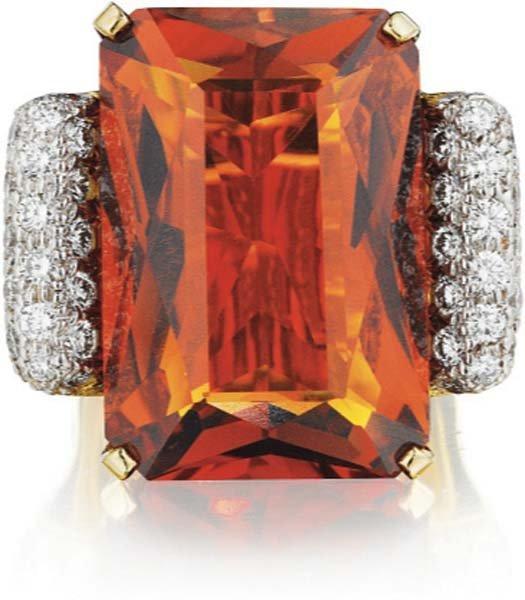 3: MARLENE STOWE, A Citrine and Diamond Ring.