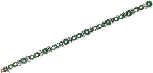 8: An Enamel and Diamond Bracelet.