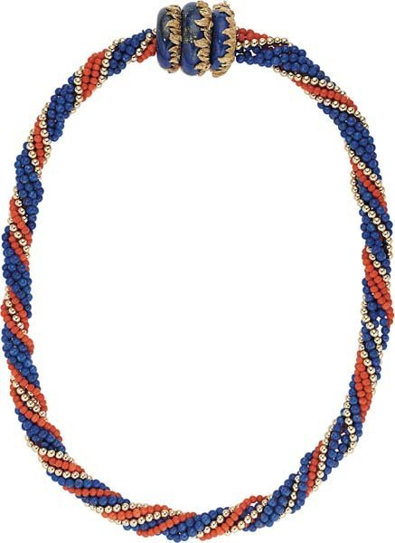 10: A Lapis Lazuli, Coral and Gold Multi-Strand Necklac