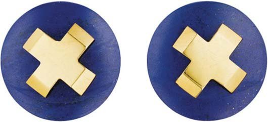 11: ALDO CIPULLO, A Pair of Lapis Lazuli and Gold Earcl