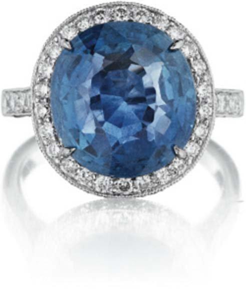 12: An Unheated Burmese Sapphire and Diamond Ring.