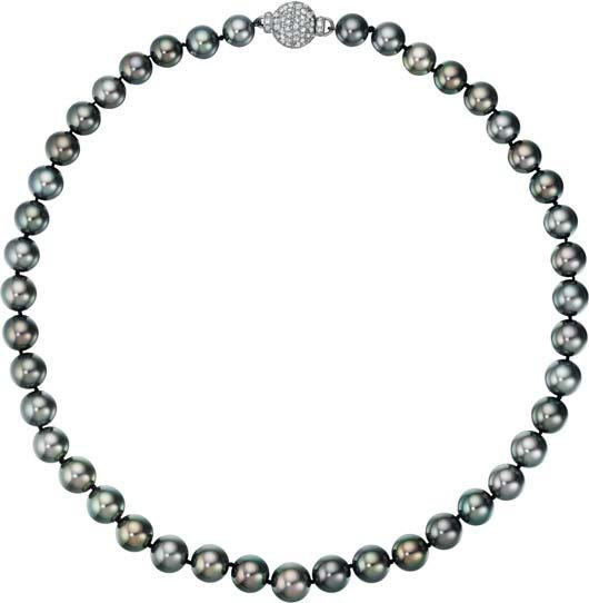 35: A Cultured Pearl and Diamond Necklace.