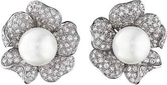 61 A Pair of South Sea Cultured Pearl and Diamond Earc