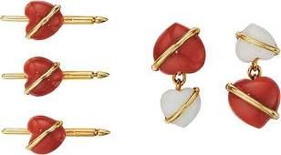 127 SEAMAN SCHEPPS A Coral and Gold Dress Set