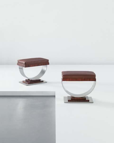 8: RAYMOND SUBES, Pair of stools, 1930s