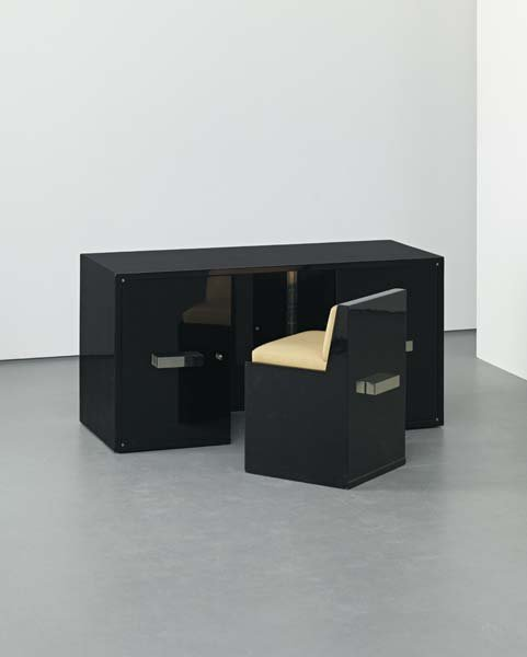 9: JACQUES ADNET, Rare integrated desk and chair, circa