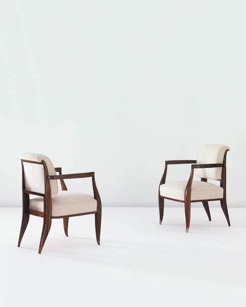 11: EMILE-JACQUES RUHLMANN, Pair of 'Drouant' armchairs