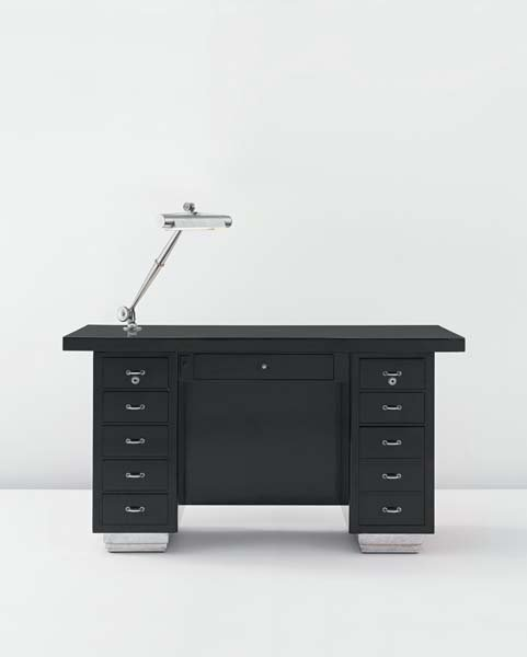 12: EMILE-JACQUES RUHLMANN, Desk with articulated lamp,