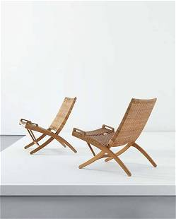 147: HANS WEGNER, Pair of folding chairs with hanging b