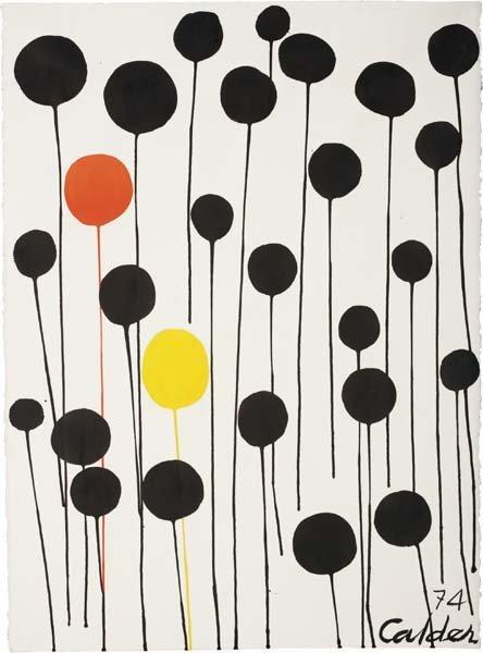 168: ALEXANDER CALDER, Red and Yellow Among Blacks, 197