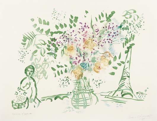 93: MARC CHAGALL, Le bouquet vert et violet (Green and