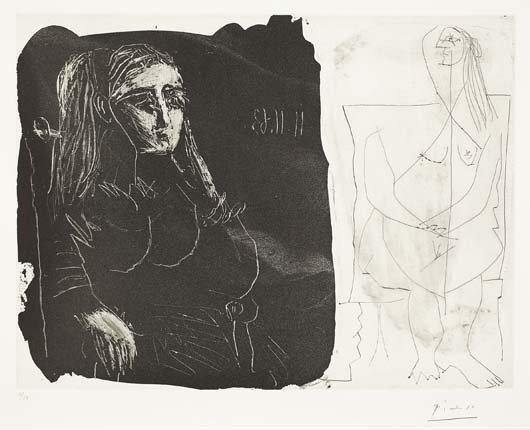 PABLO PICASSO, Femme au fauteil et nu assis (Deux