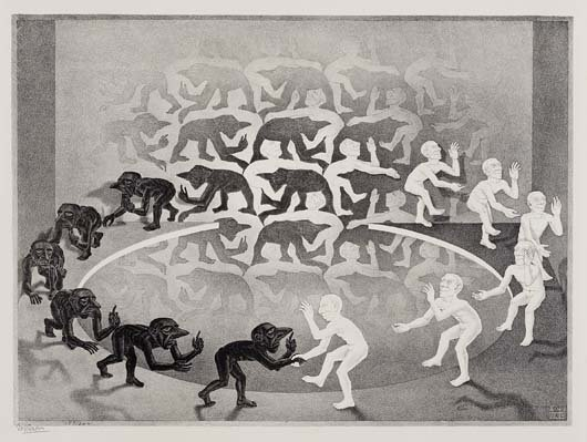 M.C. ESCHER, Encounter, 34.1052631578947