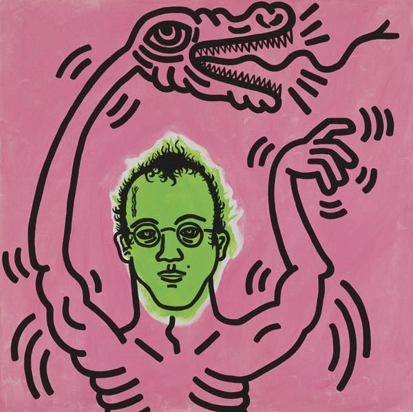 4:  KEITH  HARING  (1958-1992)  Self Portrait.  Signed