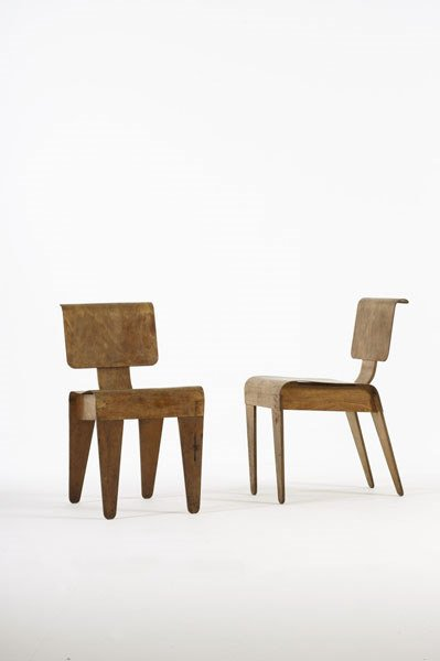 2015:  MARCEL  BREUER    Pair of stacking chairs,  ca.