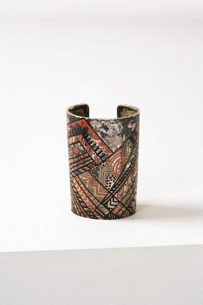 3018:  JEAN  DUNAND    Bracelet, ca. 1927  Silver, enam