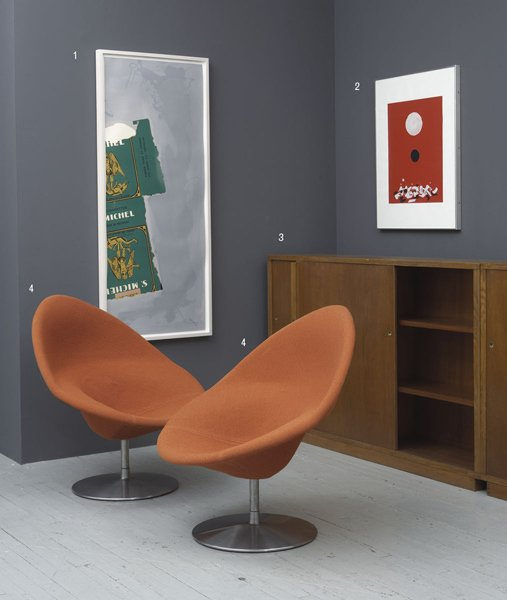 1004:  PIERRE  PAULIN  b. 1927  Pair of lounge chairs,