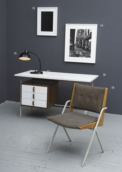 1016:    KNOLL + DRAKE    Desk and chair, ca. 1955  Lam