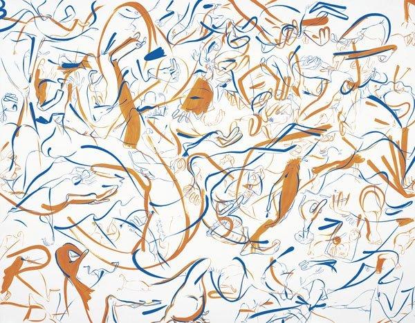 108:  SUE  WILLIAMS  b. 1954  Blue and Dayglo Orange, 1