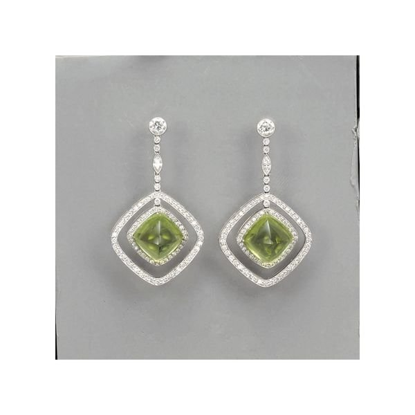 5:        A Pair of Peridot and Diamond Earrings  Each