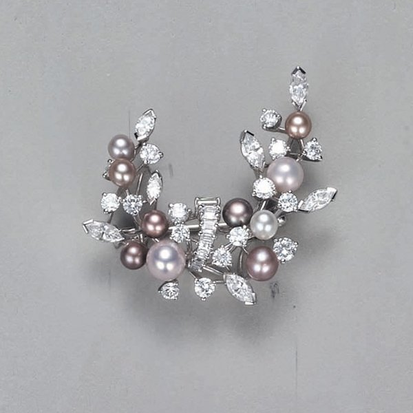 10:        A Diamond and Pearl Brooch  Designed as a fo