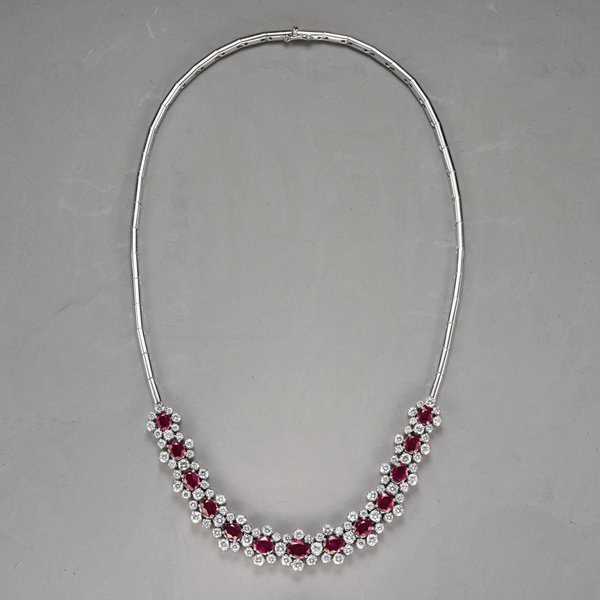16:    BUCHERER    A Ruby and Diamond Necklace  The fro