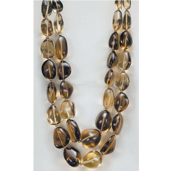 18:        A Smoky Topaz Bead Necklace  Composed of 2 r