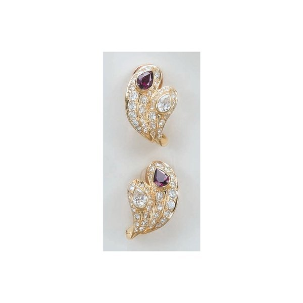 21:        A Pair of Diamond and Ruby Earclips  Each de