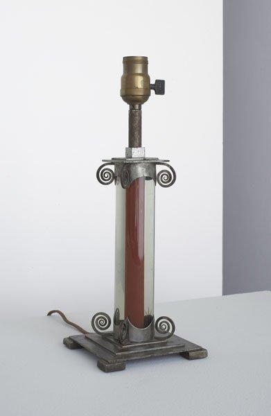 4:  JULES  BOUY  1872-1937  Table lamp, ca. 1927  Wroug