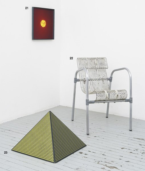 1022:  ADRIEN  CLAUDE    Chair, ca. 1950  Painted perfo