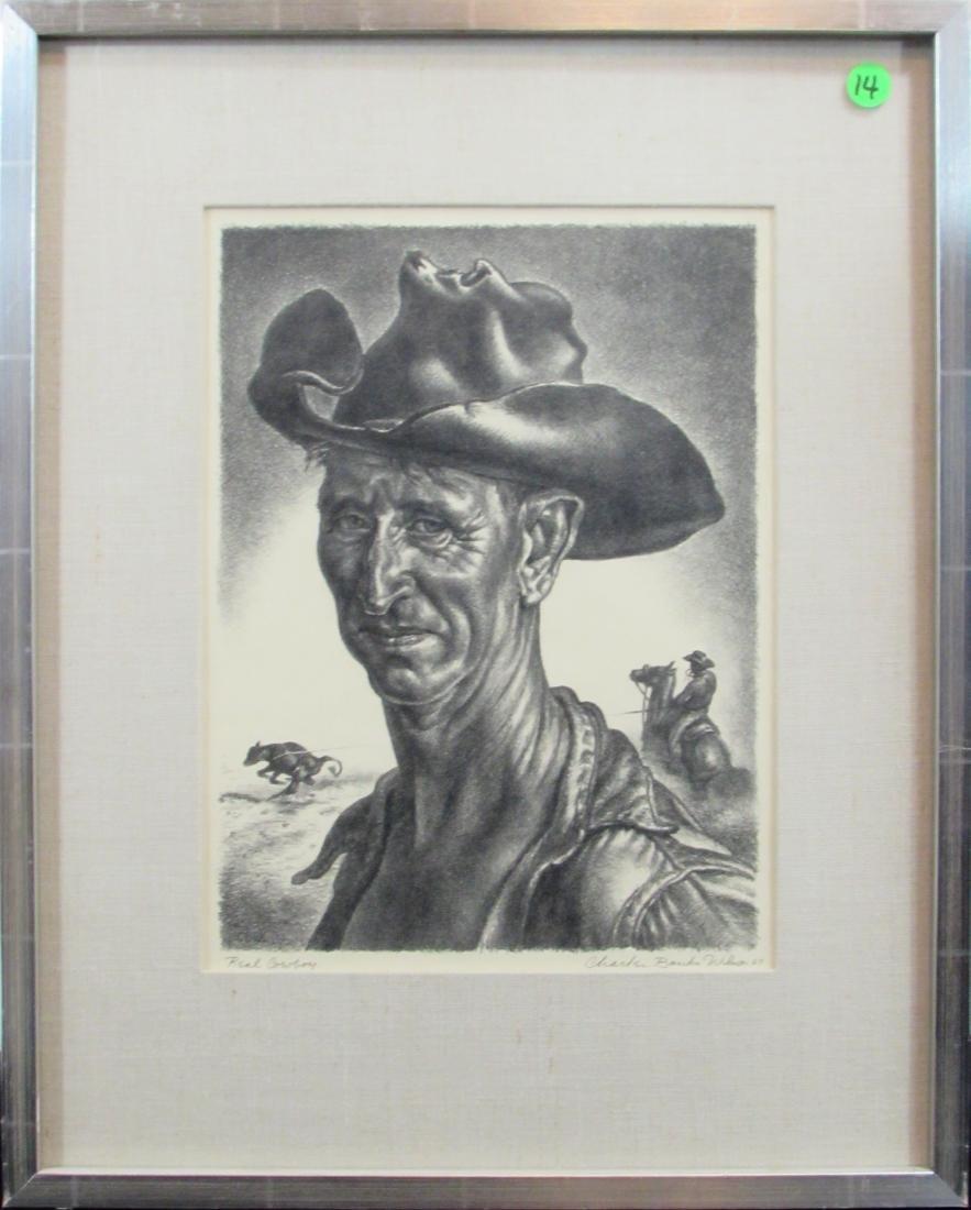 """Charles Banks Wilson, lithograph, """"Real Cowboy"""" 1969"""