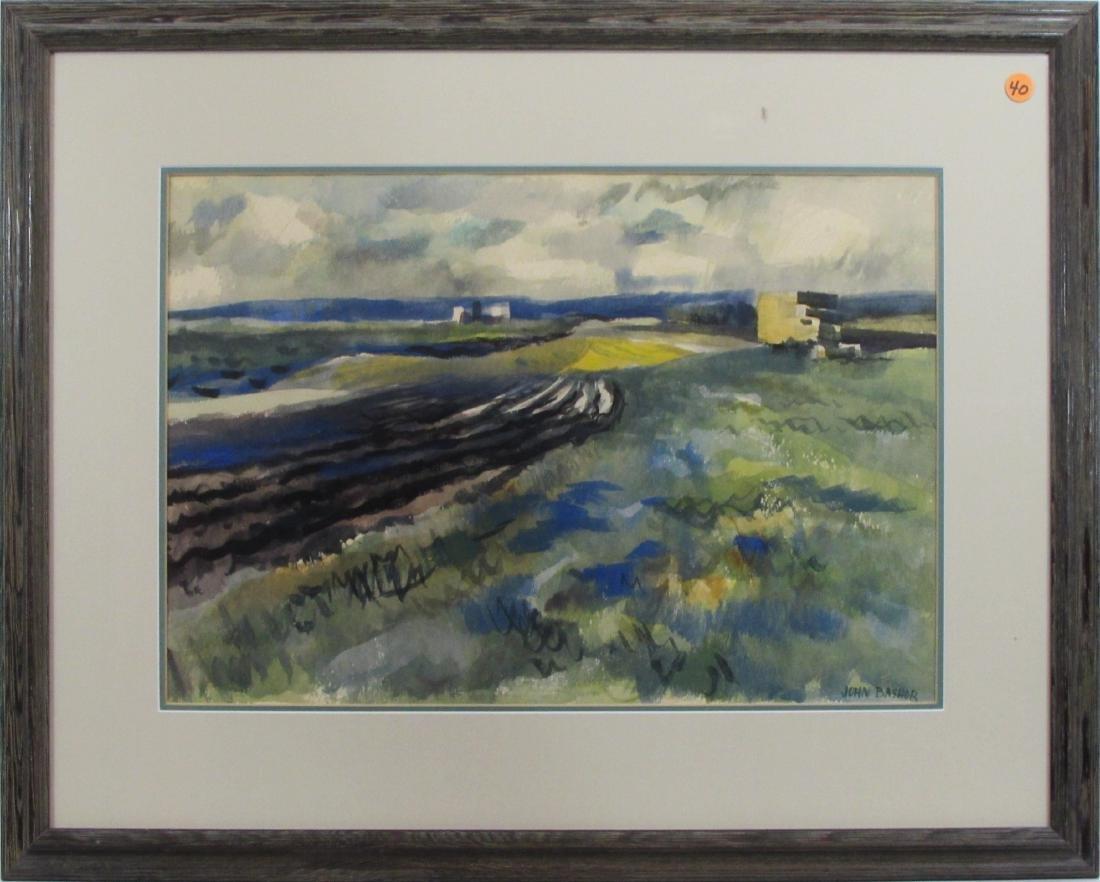 John Bashor, watercolor, untitled farm landscape