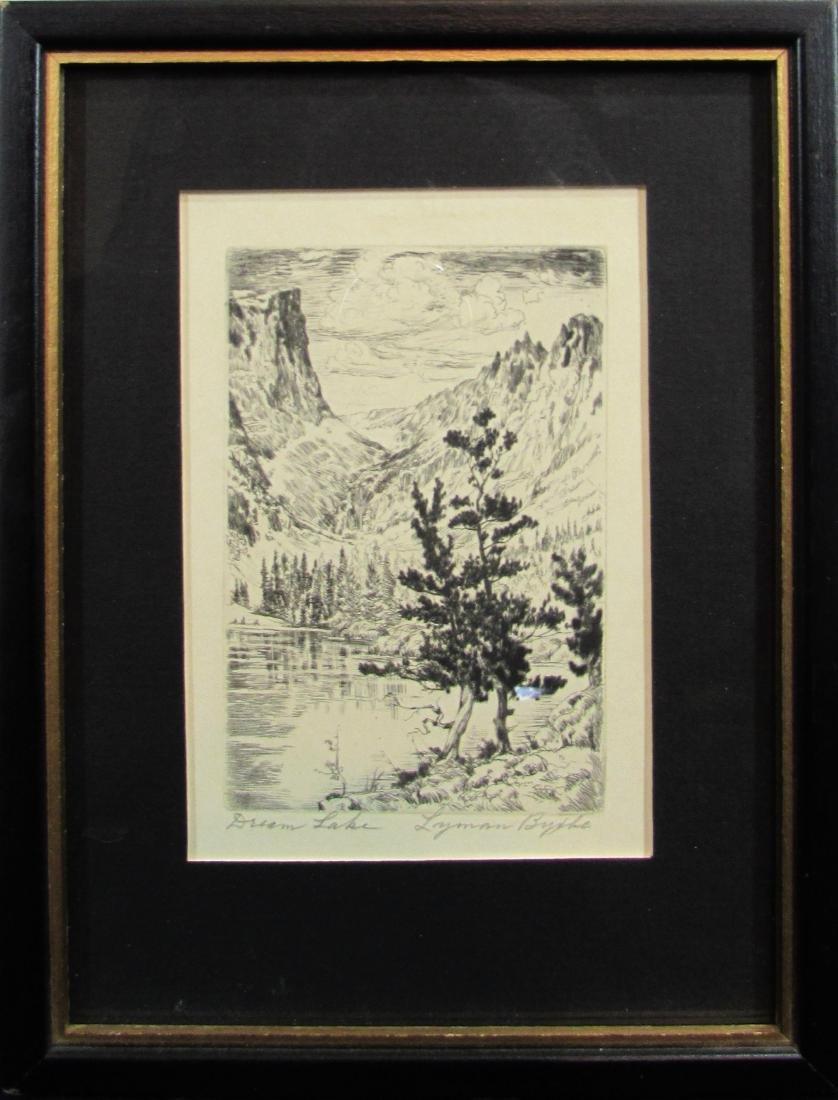 """Lyman Byxbe, lithograph, """"Dream Lake"""""""