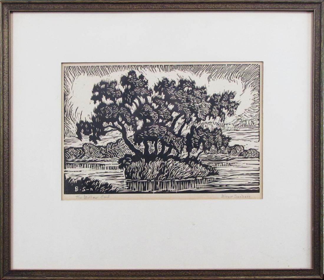 """Birger Sandzen, linocut, """"Willow Pond"""", 1930"""
