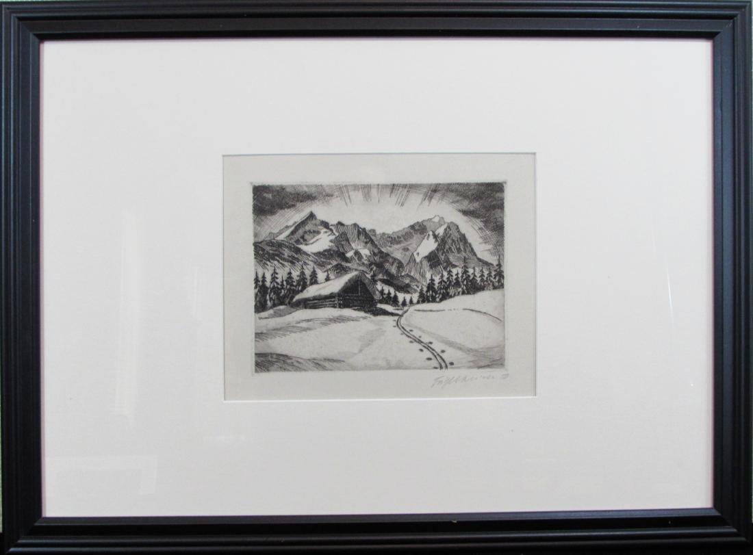 unknown artist, original etching, untitled, 1950