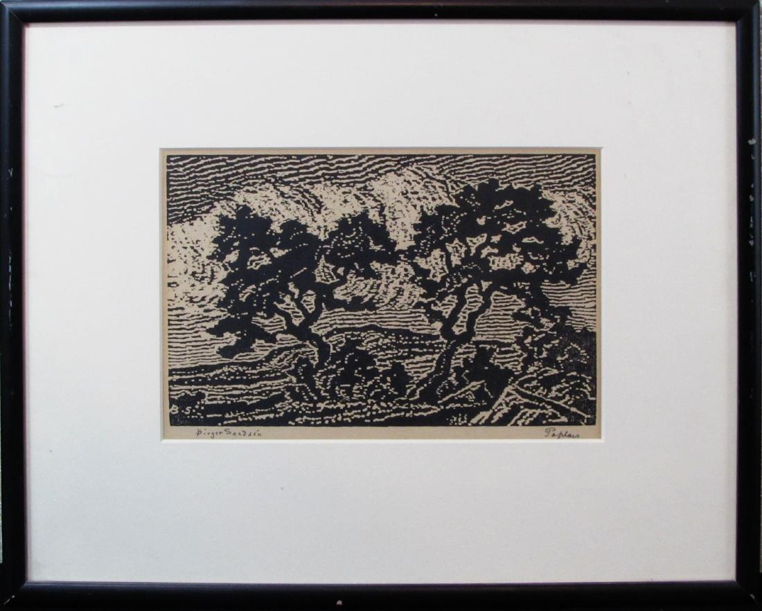 "Birger Sandzen, nailcut, ""Poplers"", 1918"