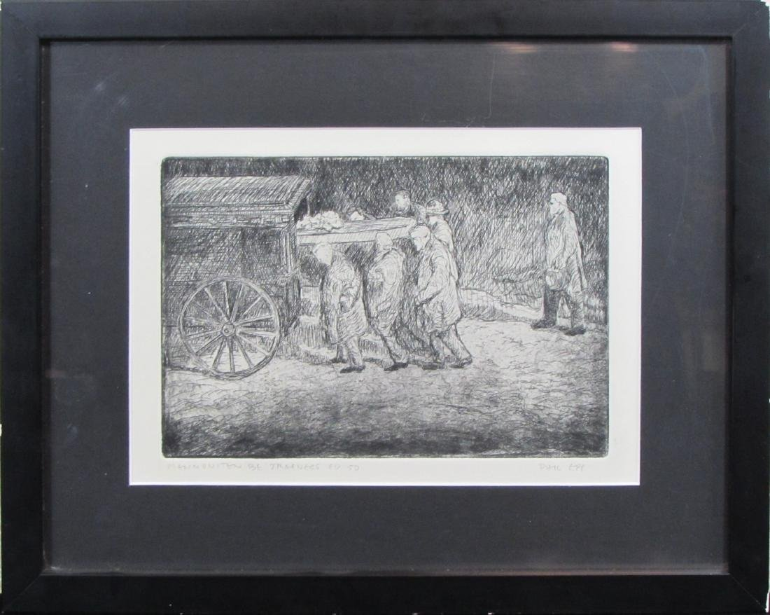 "Phil Epp, lithograph, ""Mennoniten Be Traeness"""